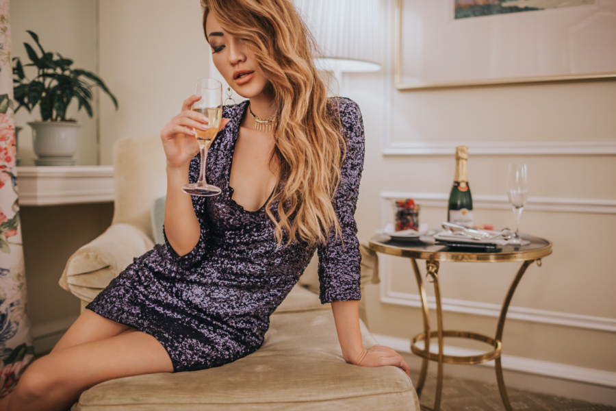 Express New Years Eve NYE Sequin V-neck mini party dress // notjessfashion.com