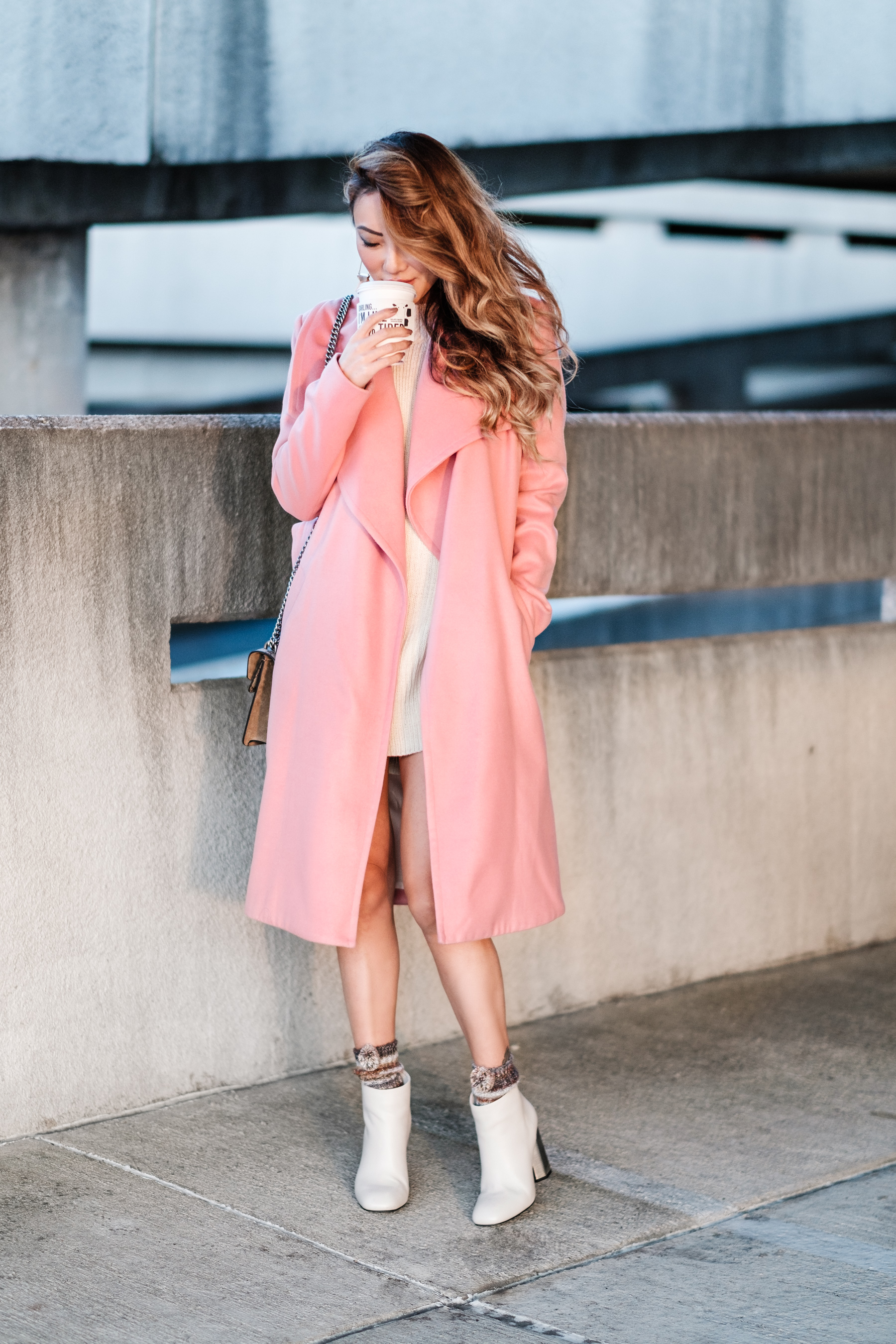 Chic Colorful Coats - Pink Coat with White Booties // NotJessFashion.com