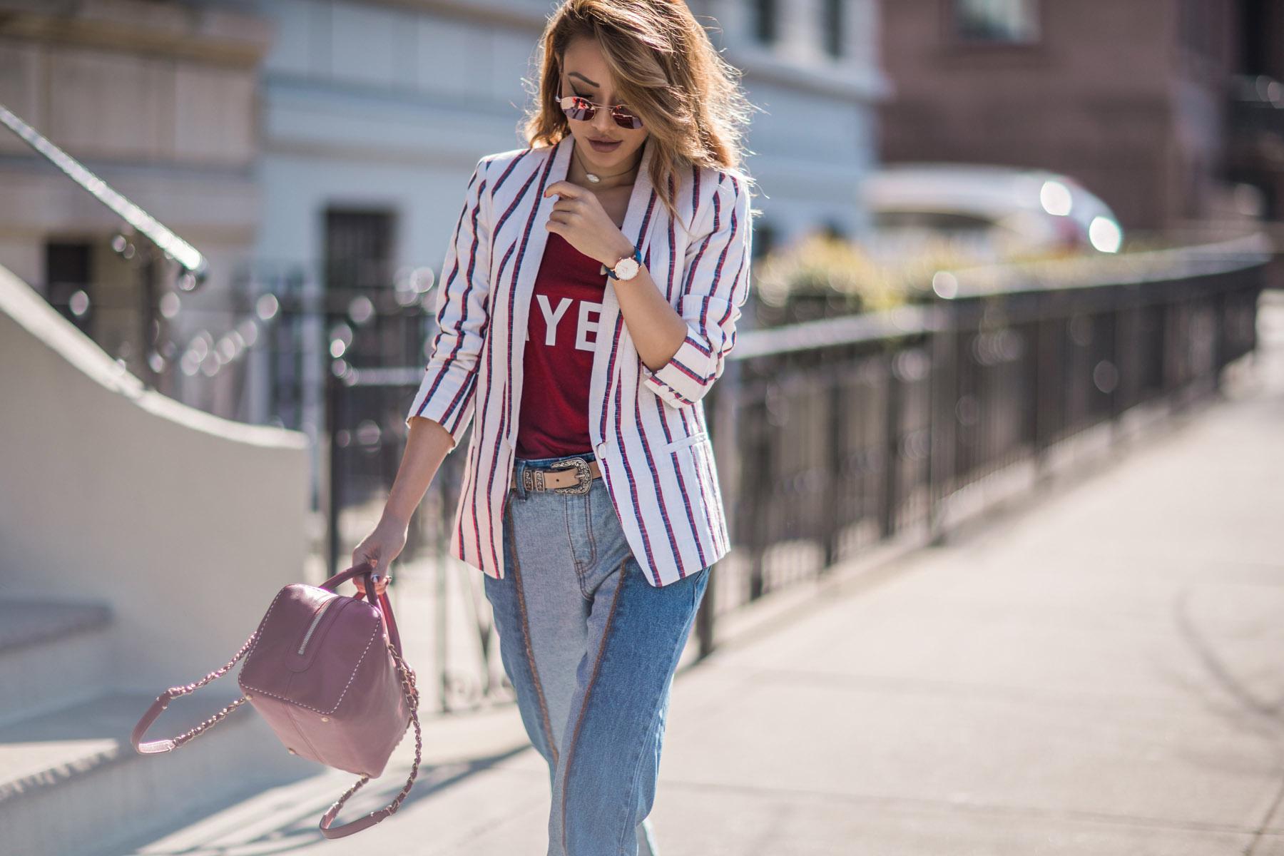 Spring Transitional Jackets - Stripe Blazer and Cluse Minuit Model Rose Gold Watch // NotJessFashion.com