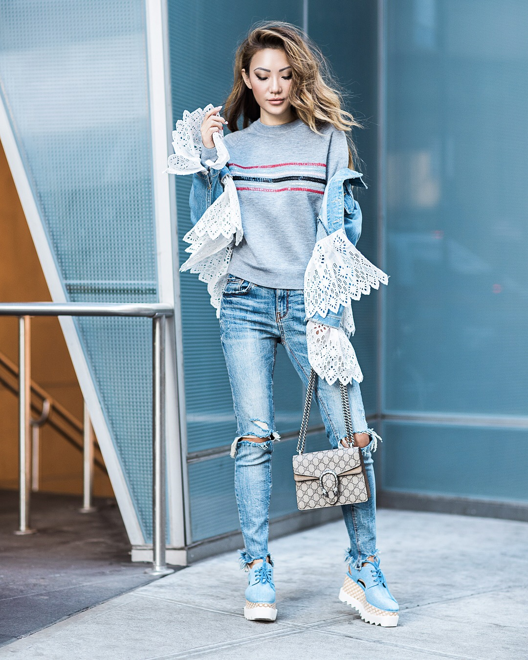 7 Posing Tips for Bloggers - stella mccartney elyse denim shoes, denim outfit // Notjessfashion.com