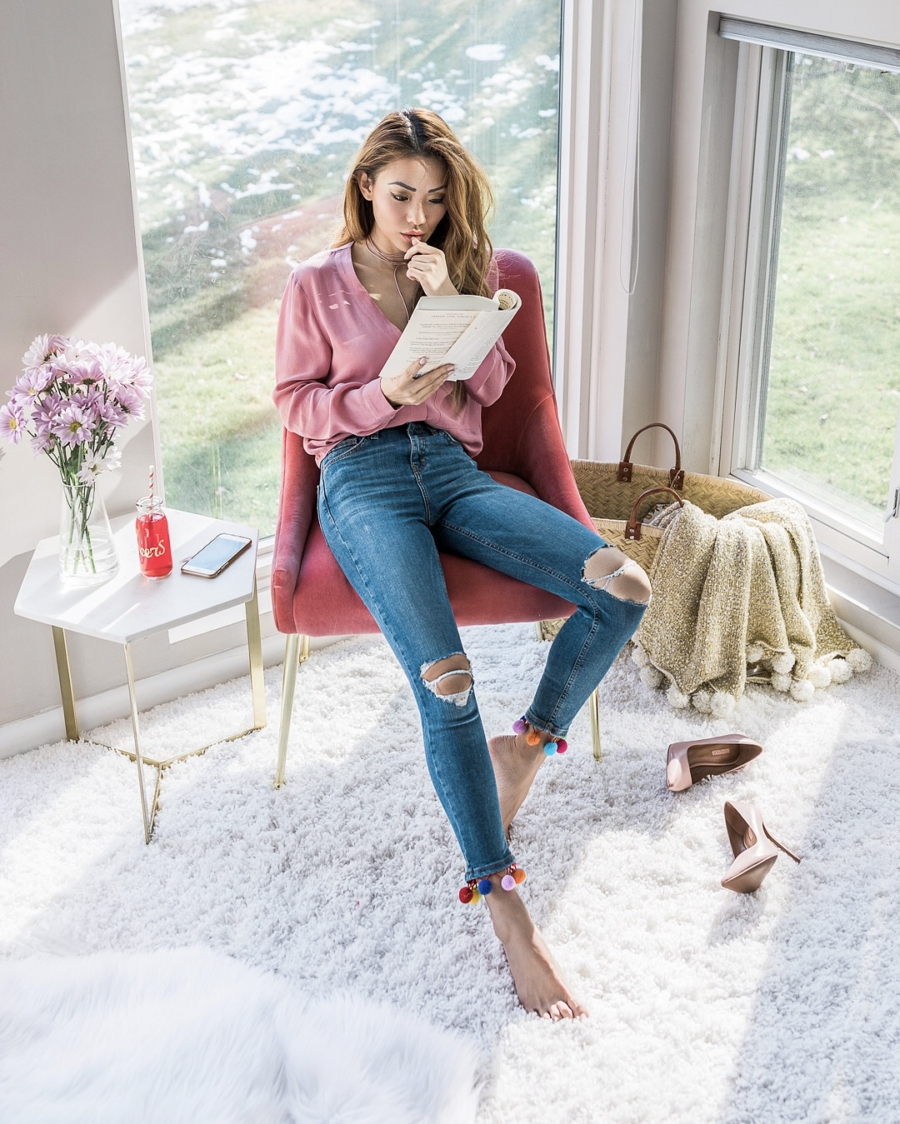 The Biggest Blogging Mistakes I Made & How to Avoid Them - Jessica Wang Wearing Pompom Hem Jeans // NotJessFashion.com