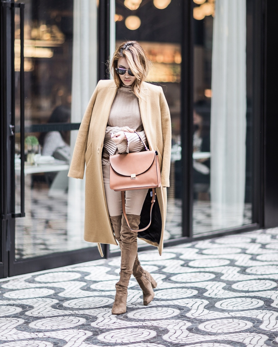 monochromatic beige outfit, beige outfits, taupe over the knee boots, stuart weitzman over the knee boots // NotJessFashion.com