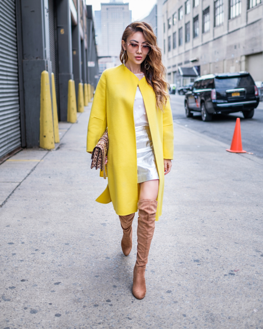 Major Fall Trends - Neon Colors, Pinko Yellow Collarless Coat & Steve Madden OTK Boots // NotJessFashion.com
