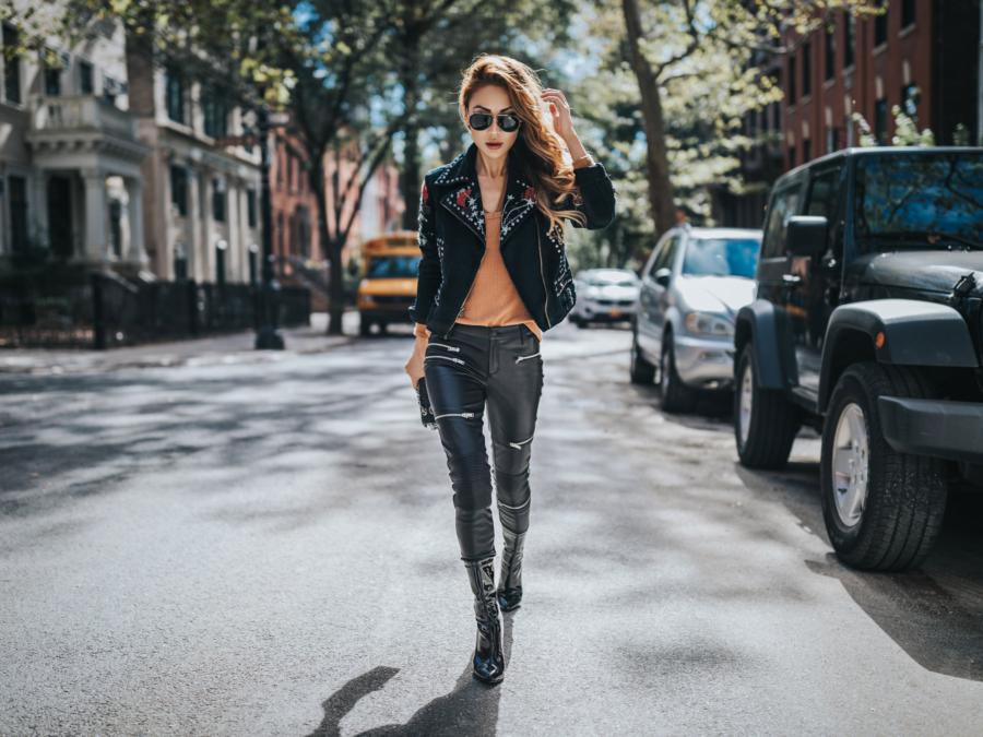 Fashion blogger Notjessfashion shows you how to dress like a fashion icon wearing a studded leather jacket // NotJessFashion.com