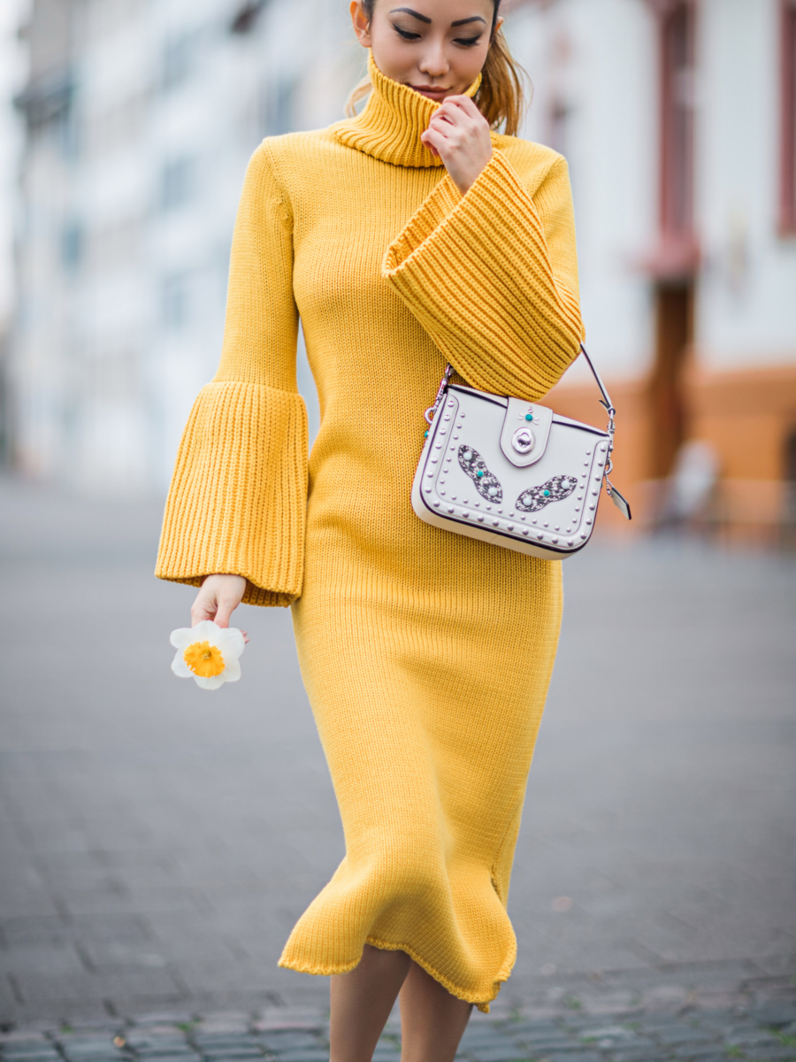 Yellow Sweater Dress with Bell Sleeves - Instagram Outfit Round Up: 6 Vacation Get-Ups to Get You Away In Style Anywhere // Notjessfashion.com
