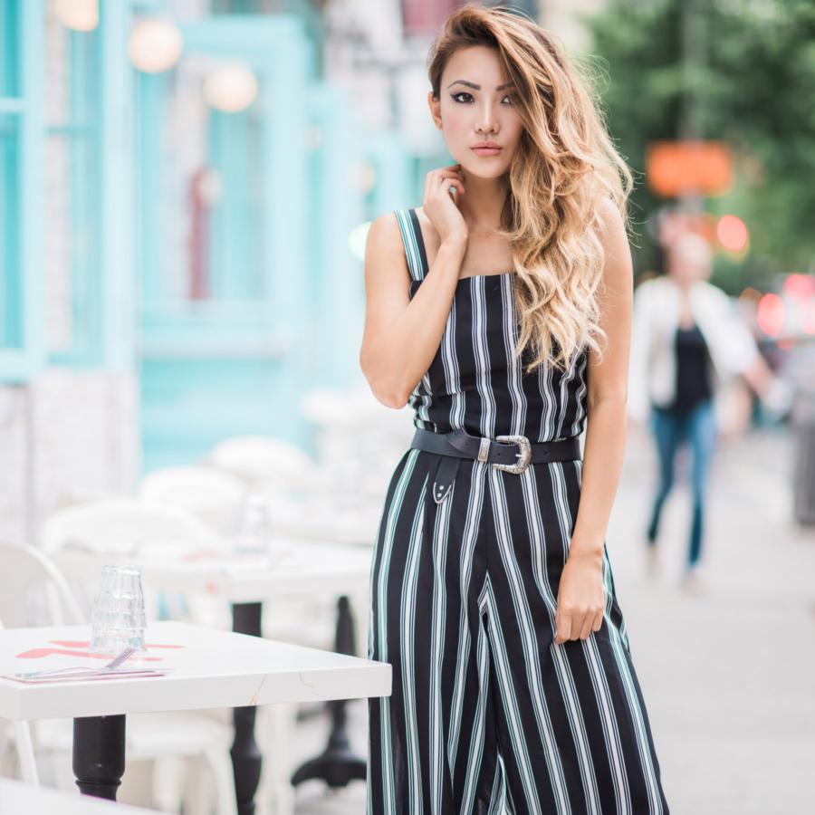 Fashionable Accessories for a Rainy Day - loose jumpsuit, stripe jumpsuit // NotJessFashion.com