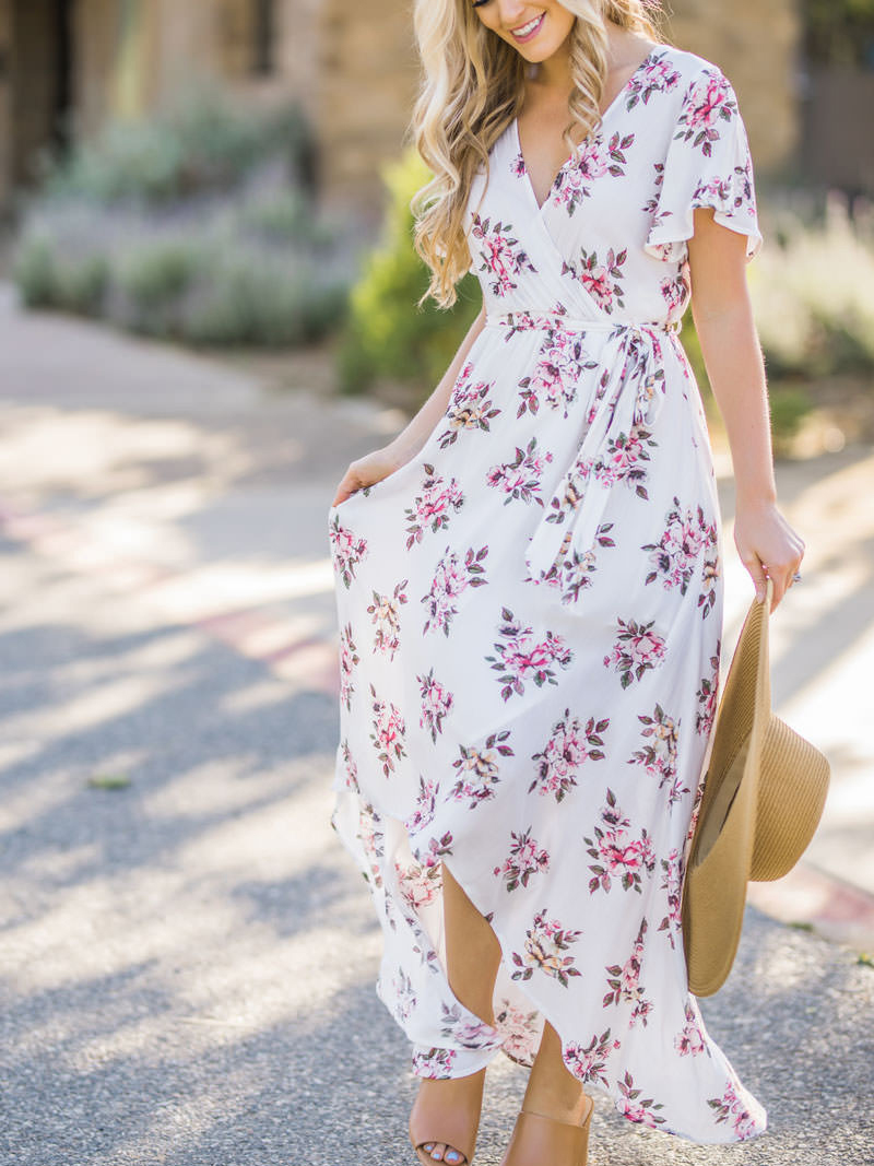 Floral Wrap Midi Dress - Best Dressed Spring Wedding Guest // Notjessfashion.com