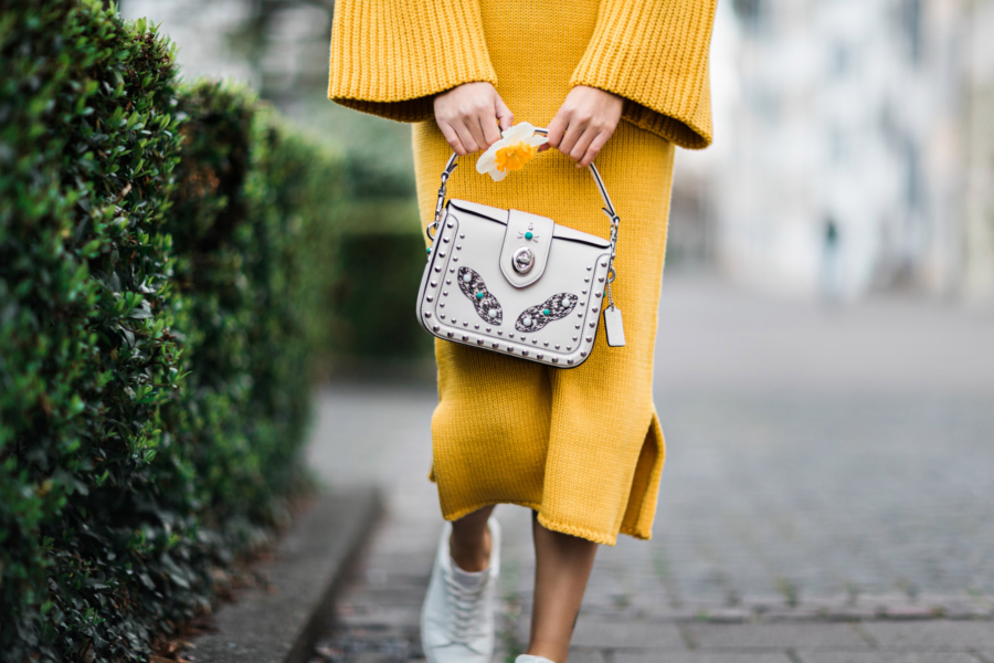 Yellow Knit Dress Coach Bag - Design Genius and the Dot that Changed the Face of Time, Movado // Notjessfashion.com