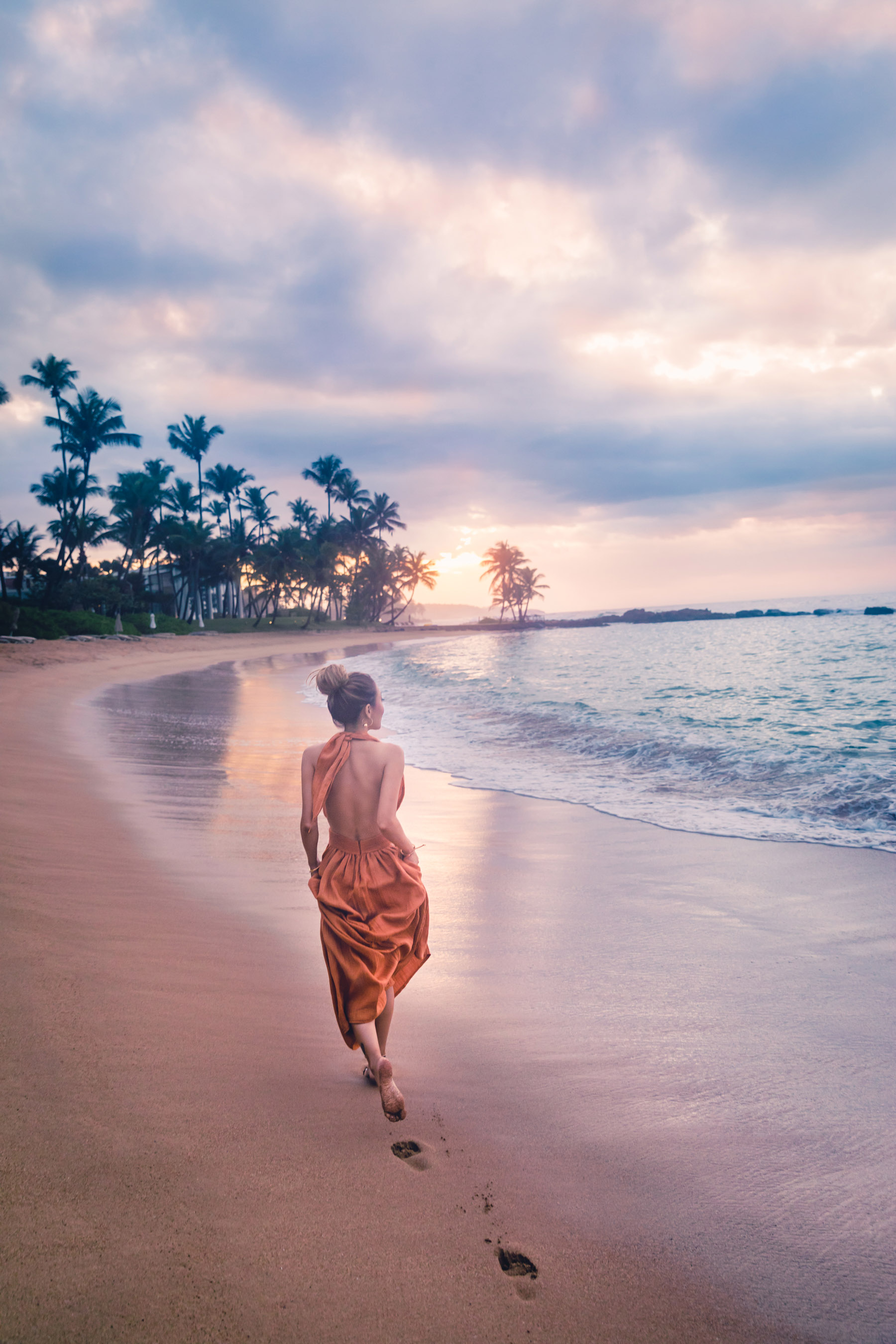 Orange Dress Chasing Sunset Dorado Beach - Discover Puerto Rico's Best Kept Secret // NotJessFashion.com