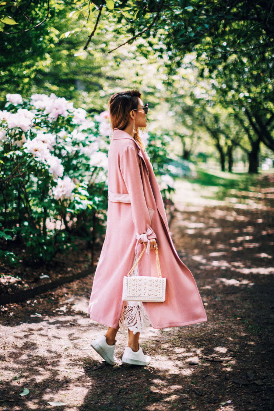 Pink Trench White Dress - 9 Fresh Ways To Style Your Favorite Trench Coat For Any Occasion This Spring // NotJessFashion.com