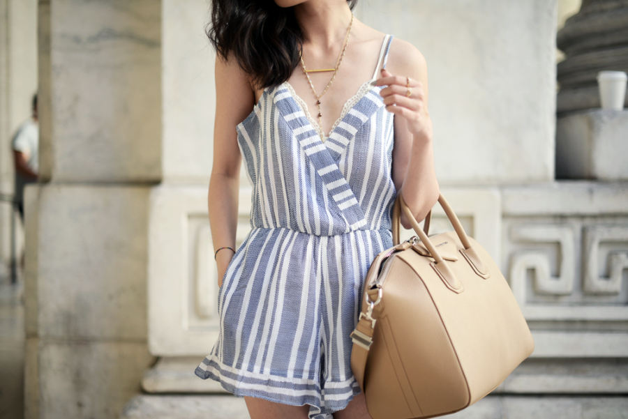 Blue Stripe Romper - 10 Key Spring and Summer Wardrobe Essentials // NotJessFashion.com