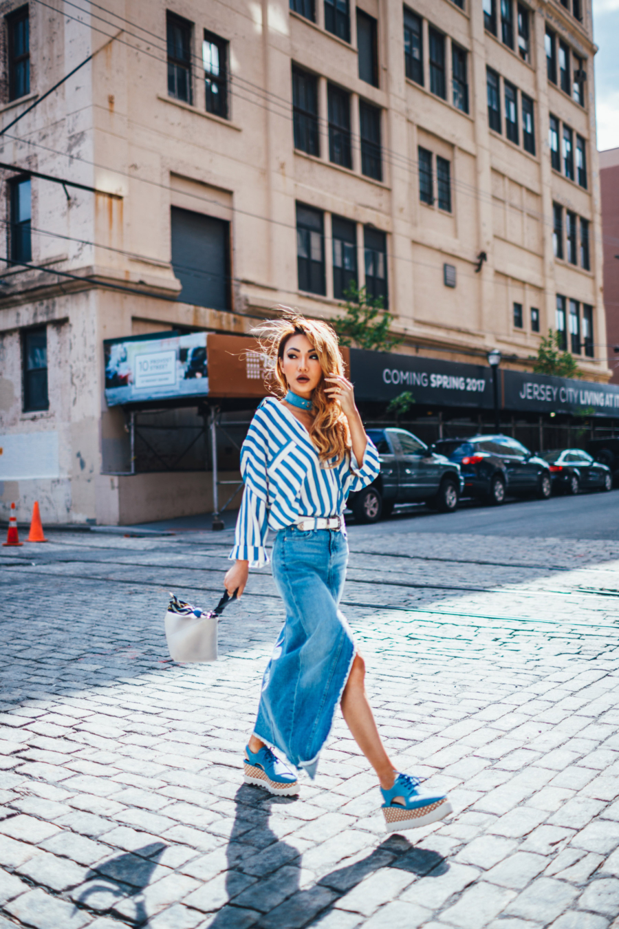 Blue Denim Skirt and Stripes Street Style - The Essential Guide to Pulling Off Summer Stripes // NotJessFashion.com