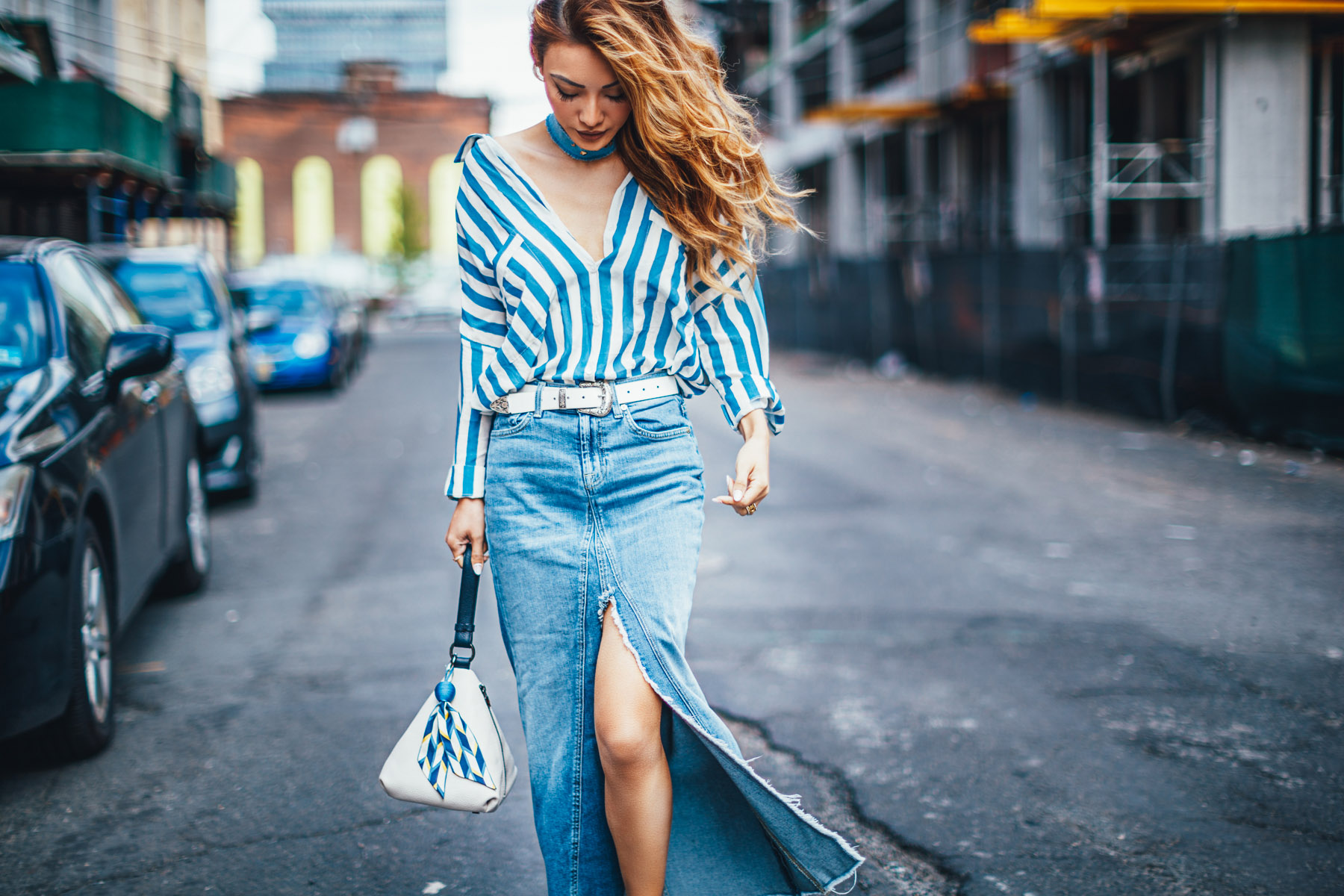 Easy Ways to toughen up a feminine wardrobe - Stripe top with denim maxi skirt, nyc fashion blogger // NotJessFashion.com