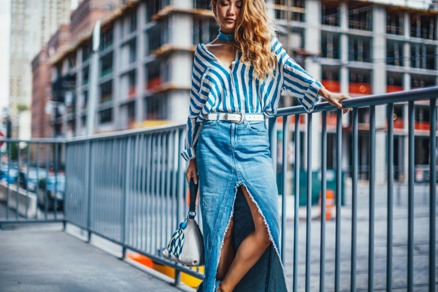 Blue Stripe Top Denim Skirt - The Essential Guide to Pulling Off Summer Stripes // NotJessFashion.com