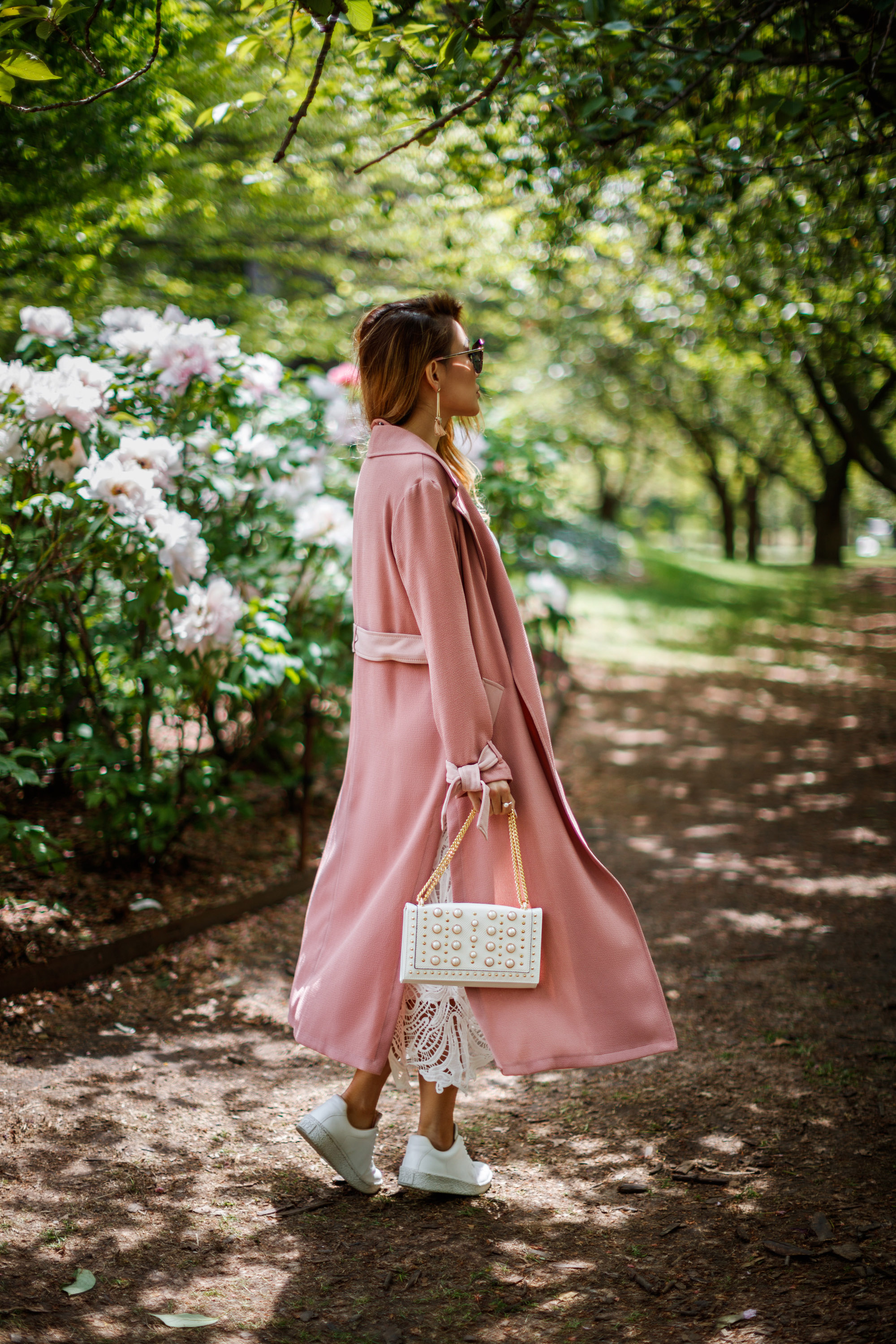 7 Posing Tips for Bloggers - pink trench coat, white lace dress // NotJessFashion.com