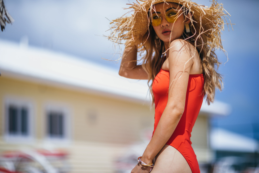 Fringe Straw Hat and Red One Piece Swimsuit - How To Find The Perfect One Piece Swimsuit // NotJessFashion.com