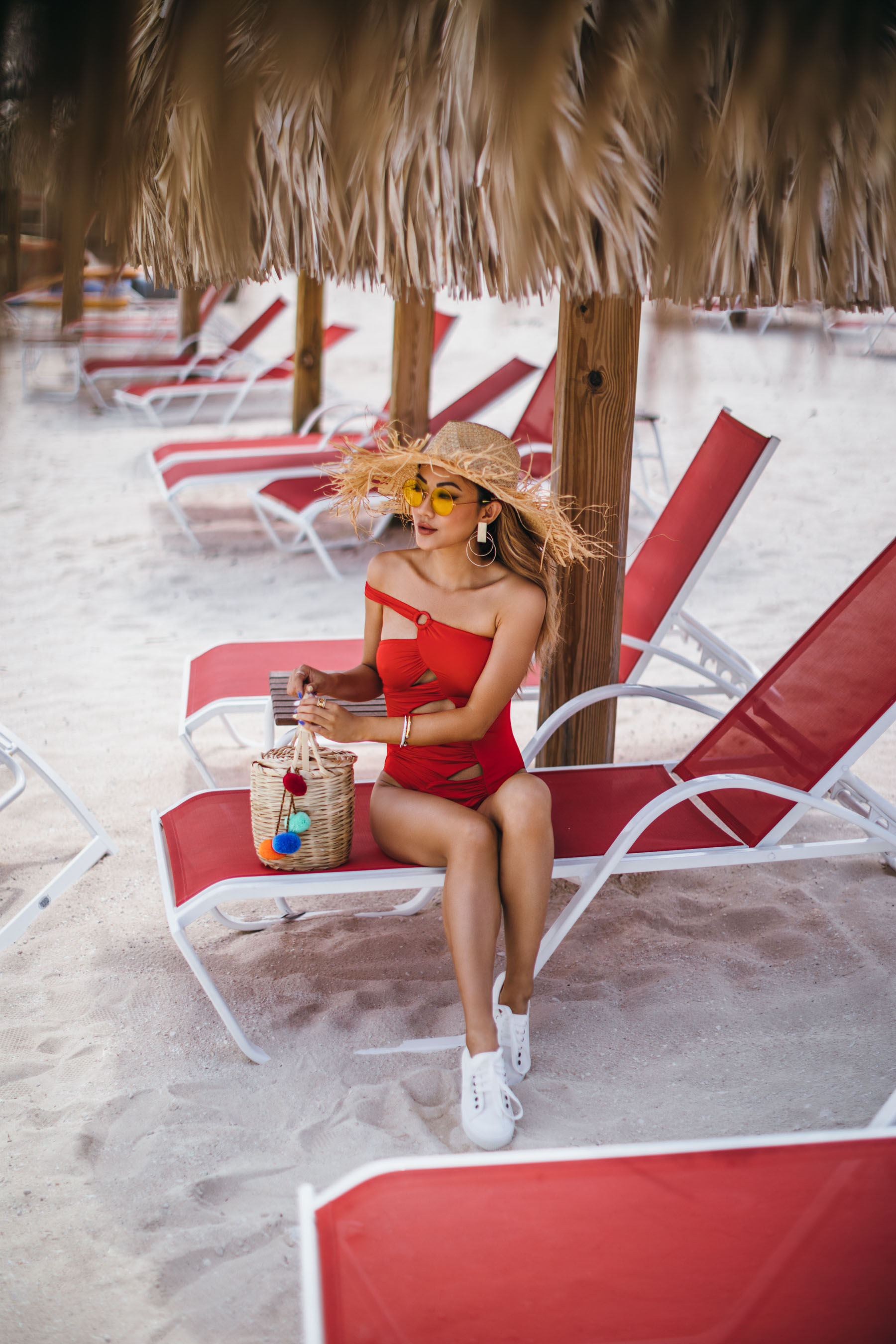 Fringe Hat and Red One Piece Swimsuit - How To Find The Perfect One Piece Swimsuit // NotJessFashion.com