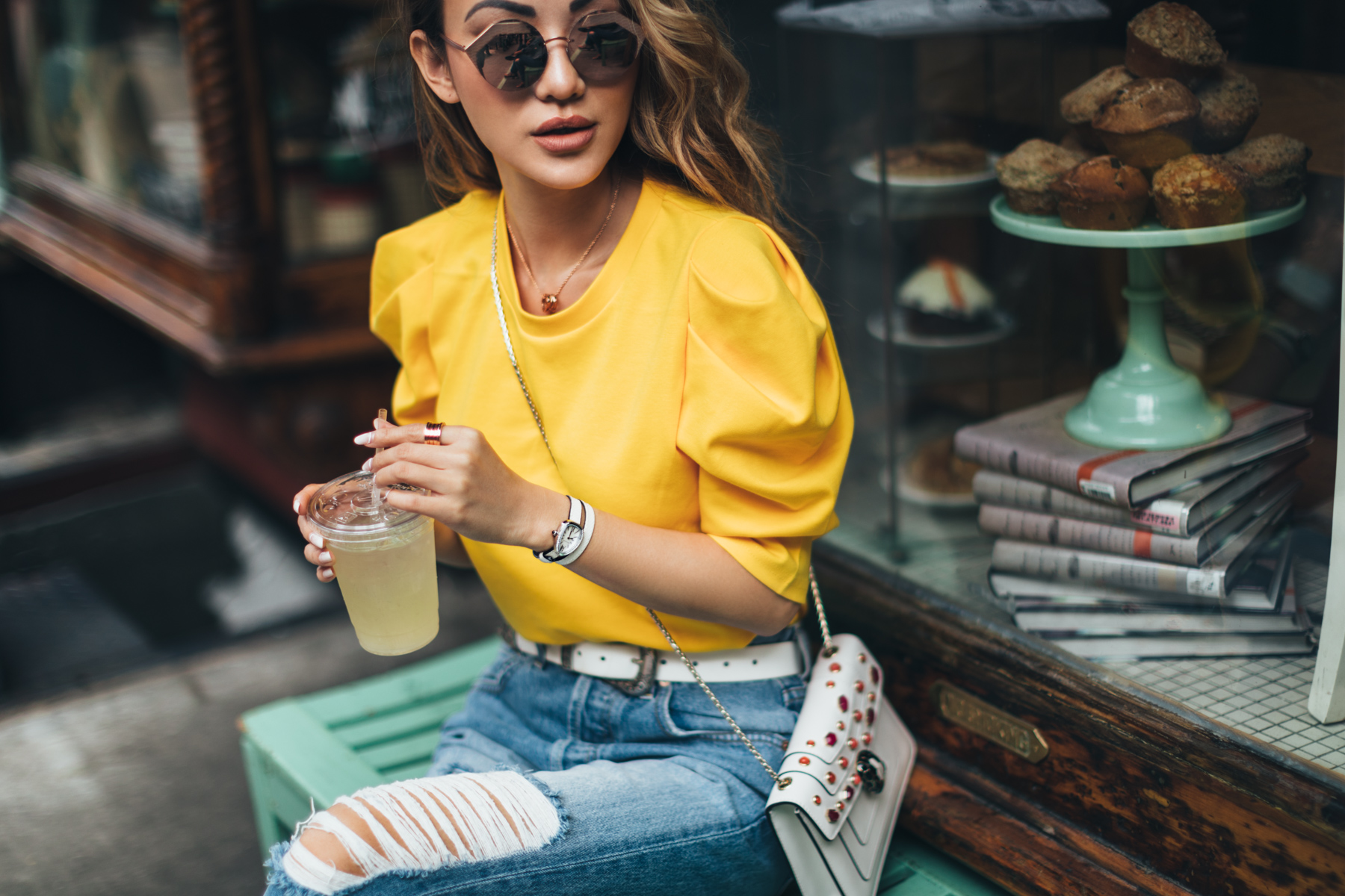 7 Posing Tips for Bloggers - yellow puffy sleeve sweater // Notjessfashion.com