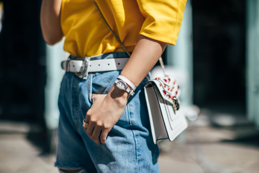 Yellow Shirt and Boyfriend Jeans Serpenti Watch - One Serpenti Watch, Three Outfits // NotJessFashion.com