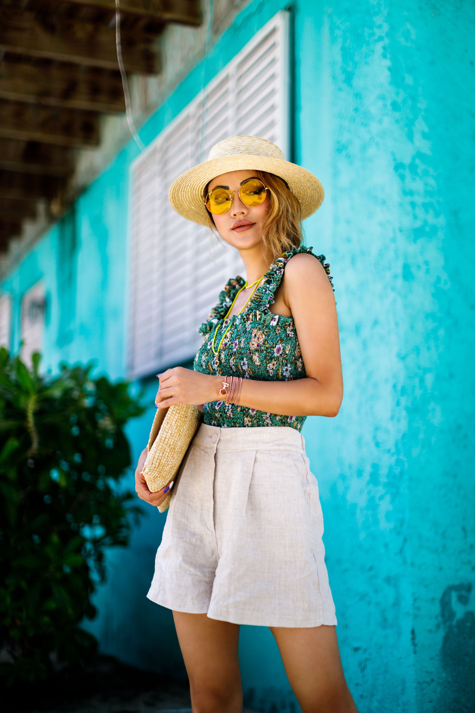 Floral Green Top and DY Bel Aire Jewelry - Free-Spirited Accessories to Compliment Your Summer Style // NotJessFashion.com