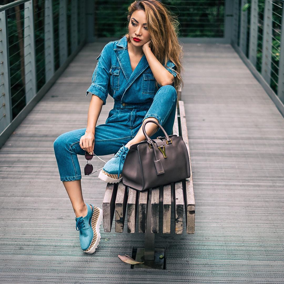 Easy Ways to toughen up a feminine wardrobe - Denim Jumpsuit with Stella McCartney Elyse Shoes in Denim // NotJessFashion.com