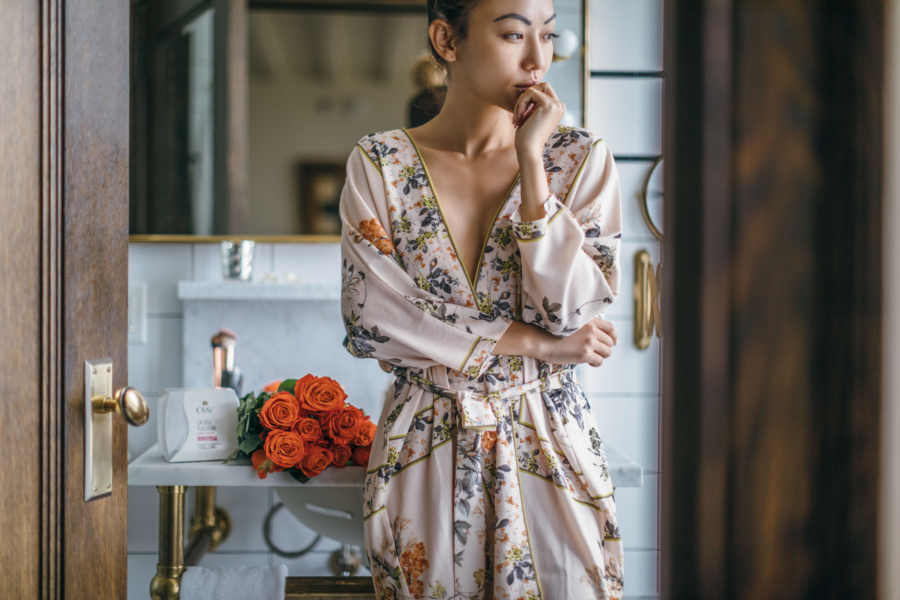 Floral Robe and Orange Roses - How To Remove Your Makeup The Right Way // NotJessFashion.com