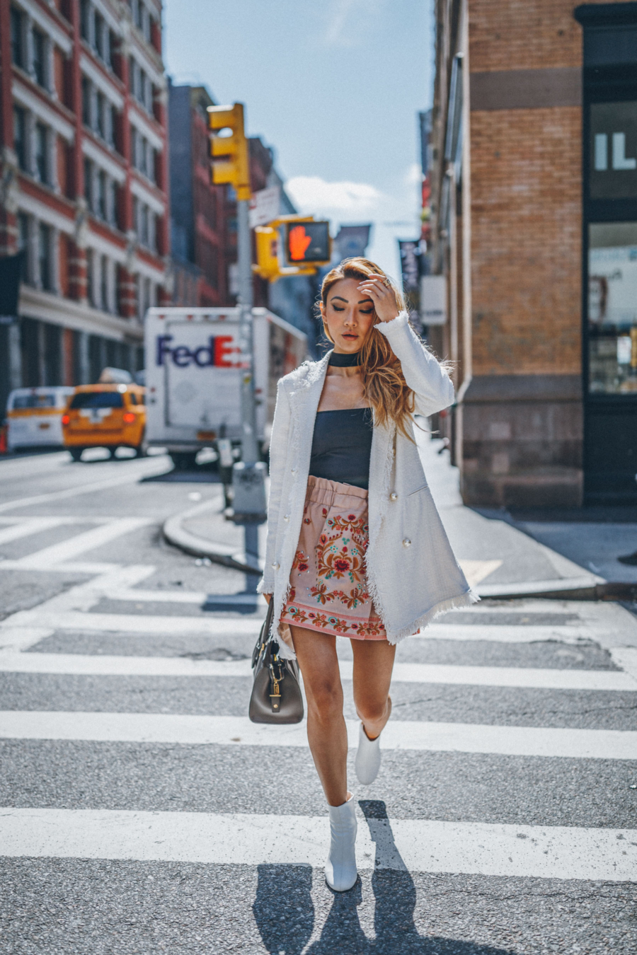 3 Foolproof Ideas for an Engaging Blog Post - Embroidered skirt, white boots, tweed jacket // Notjessfashion.com