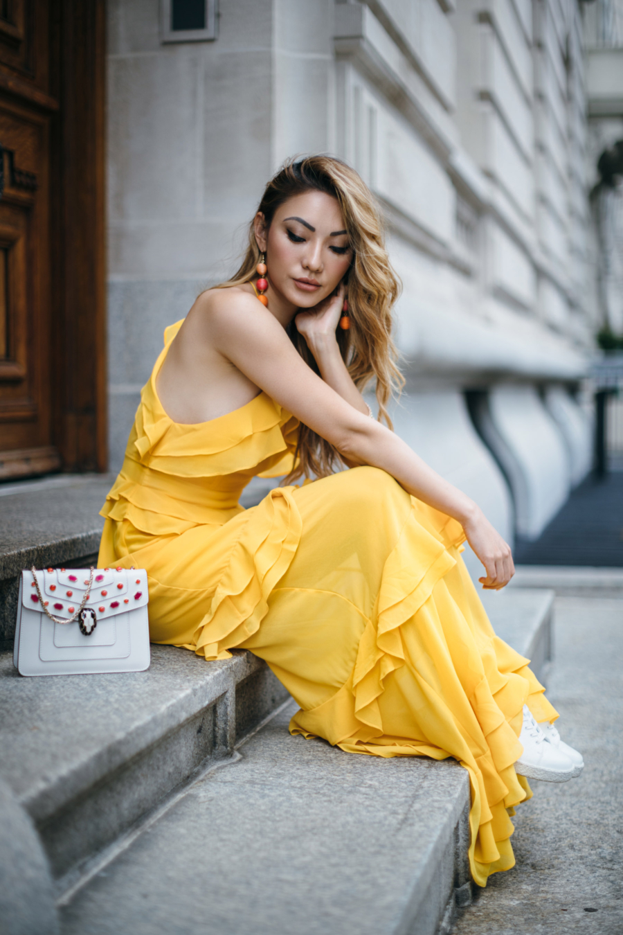 Tier Dress and Sneakers = 8 Pieces To Achieve The Modern Romantic Look // NotJessFashion.com