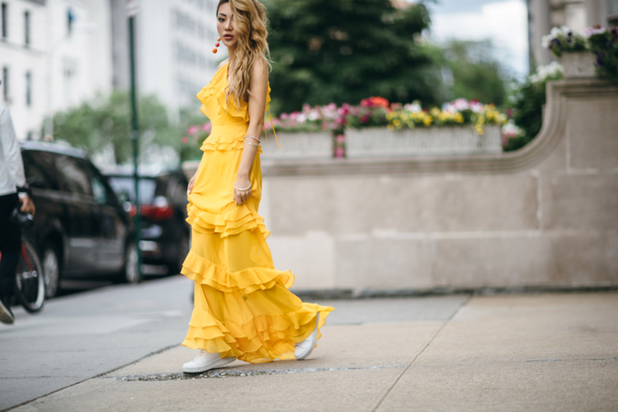 Yellow Ruffle Tiered Dress = 8 Pieces To Achieve The Modern Romantic Look // NotJessFashion.com