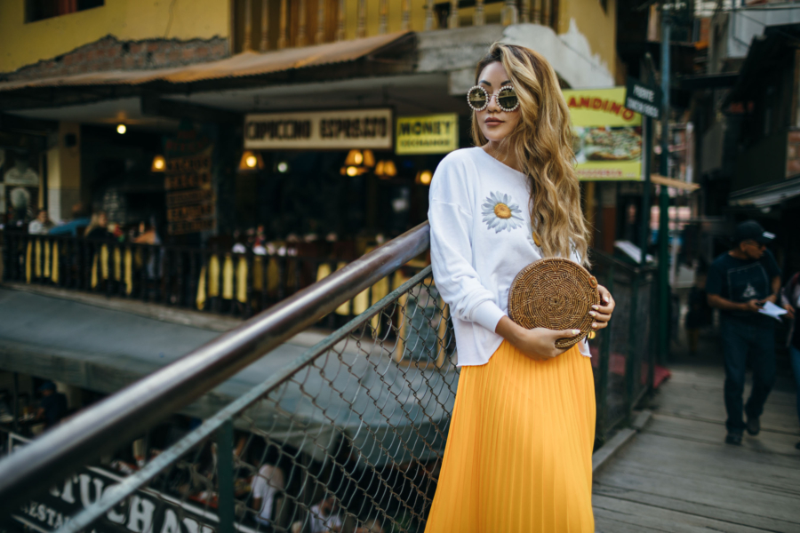 Yellow Pleated Skirt and Daisys - New Sunglasses Shapes That Are Fun and Luxe // NotJessFashion.com