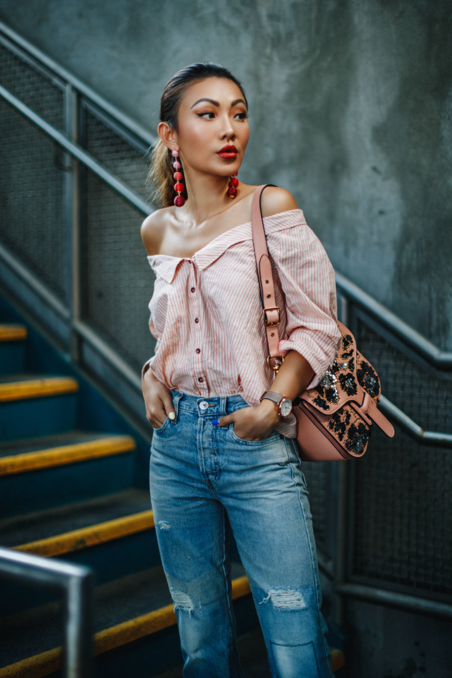 Off The Shoulder Top and Bonbon Earrings - Embellished Pieces That Will Make Your Outfits Shine // NotJessFashion.com