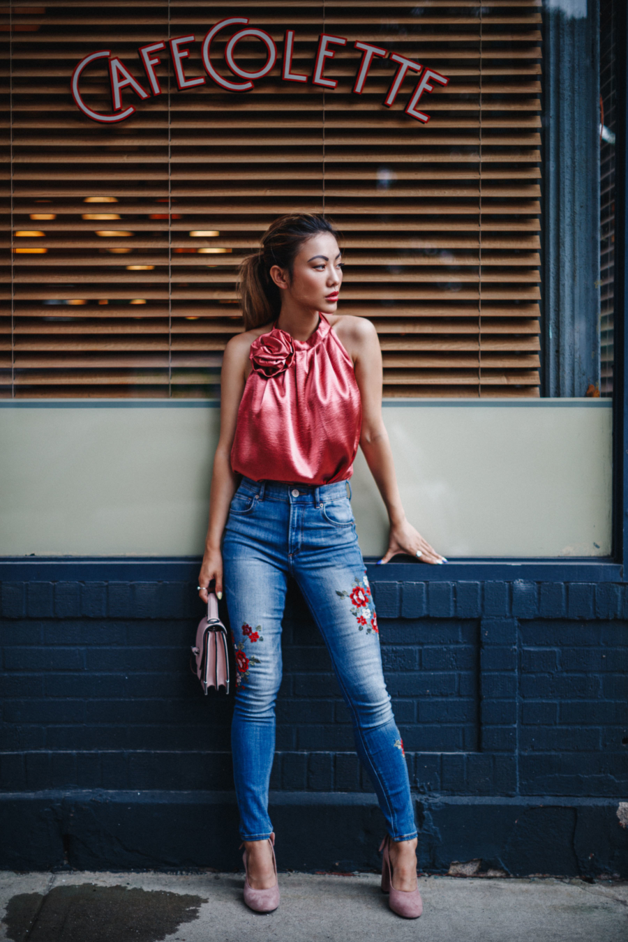 Embroidered Denim and Satin Blouse - Denim Details that Make Jeans Even Hotter this Summer // NotJessFashion.com