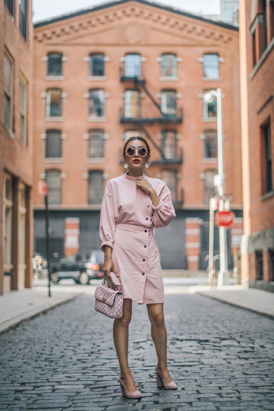 Stylish but Office Friendly Summer Outfit Ideas - button down dress, shirt dress, pink professional dress // Notjessfashion.com
