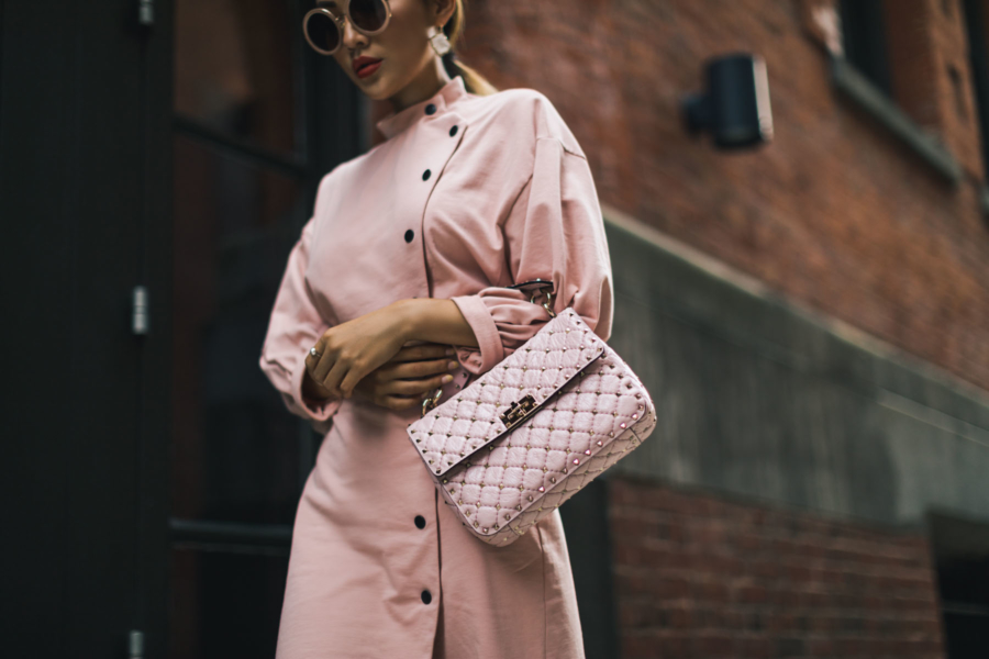 Pink Dress and Valentino Rockstuds Spike Crossbody Bag - Most Wearable but Luxe Trends for Summer 2017 // NotJessFashion.com