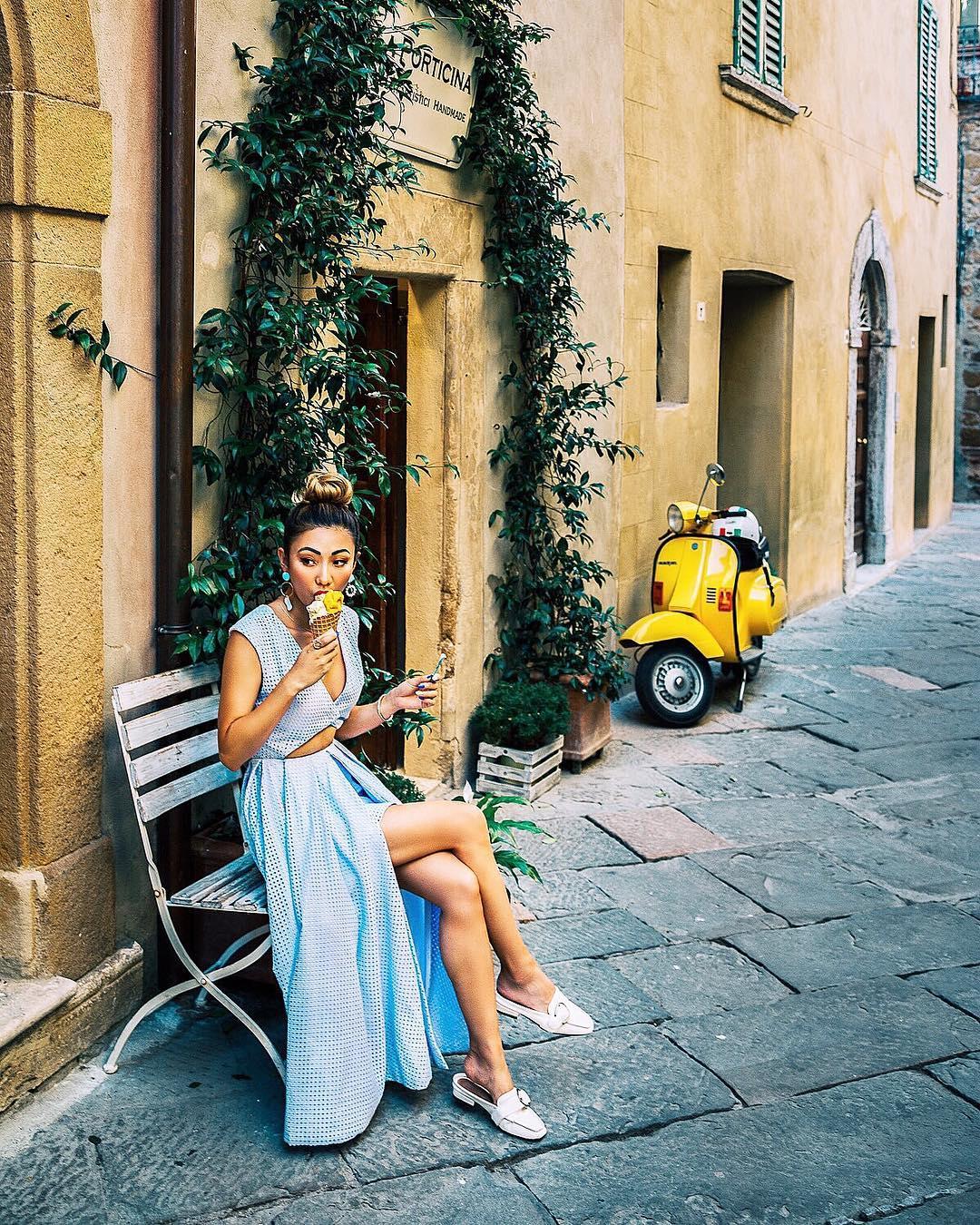 Dresses to Get You Through Easter - blue dress in italy, stripe blue hi-lo dress, summer maxi dress // NotJessFashion.com