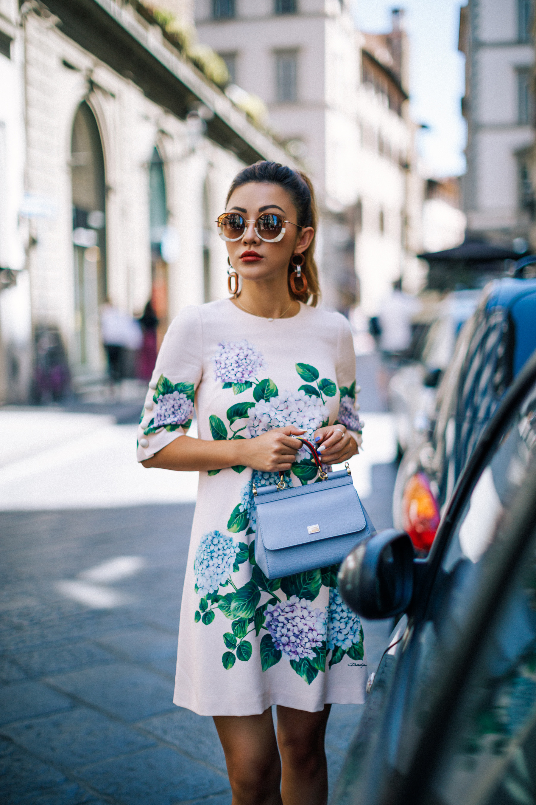 Dolce & Gabbana Hydrangea Shift Dress with Sunglasses // NotJessFashion.com