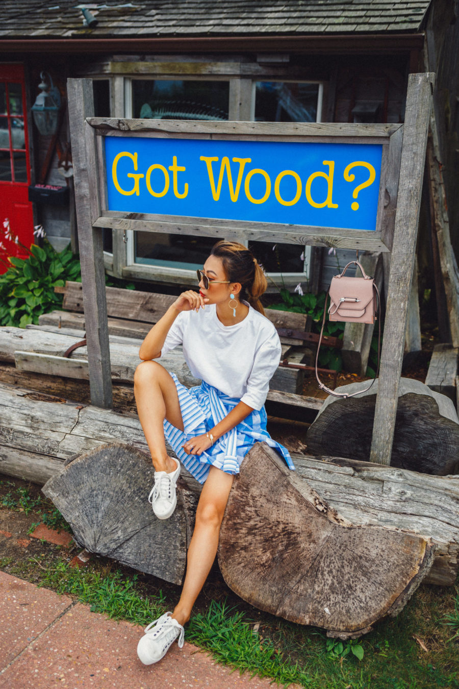 Skirt and Shirt Outfit - Easy Outfits to Pack for the Hamptons // NotJessFashion.com