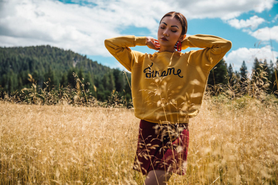 frame yellow sweater, what to wear to a football game // Notjessfashion.com
