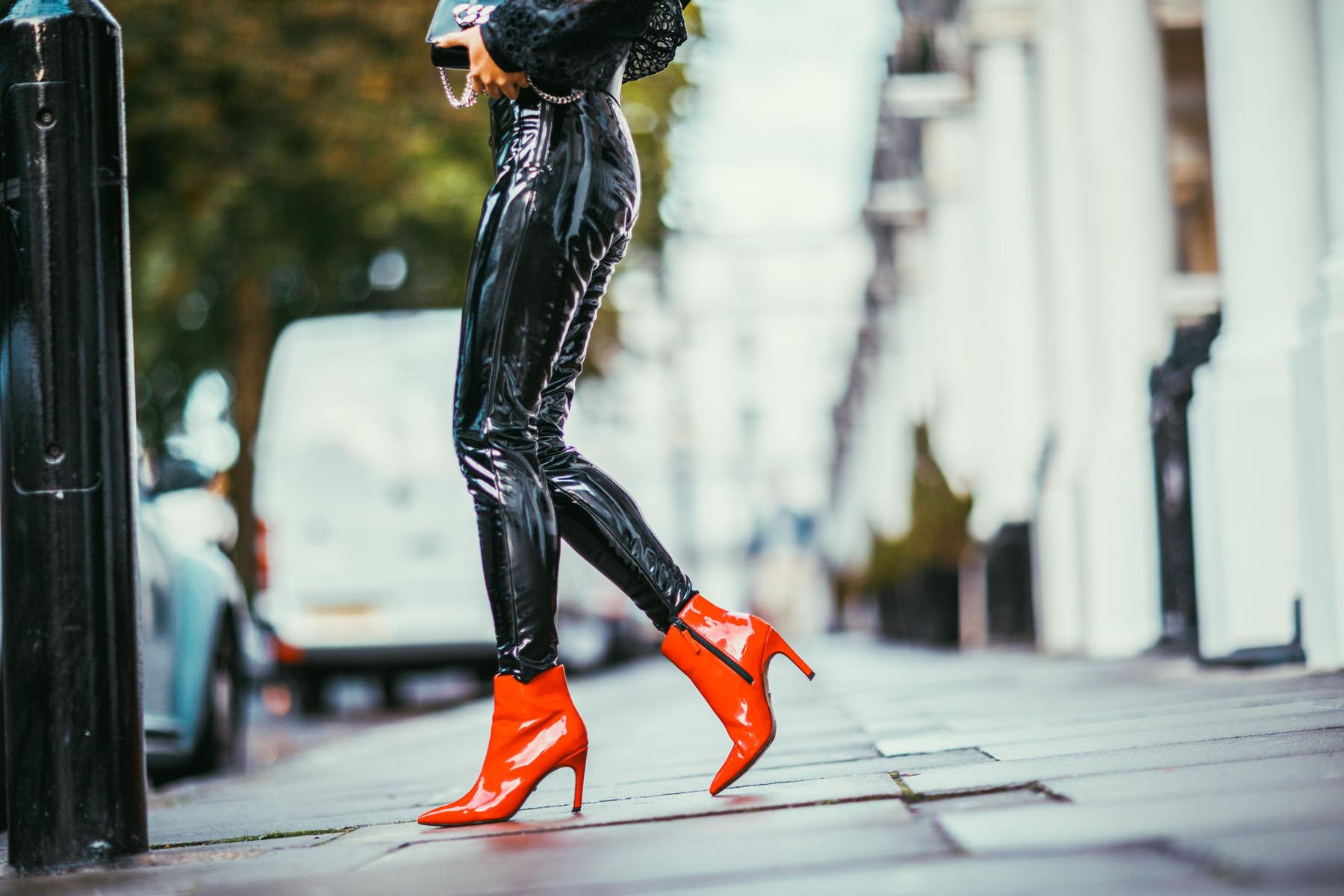How to Wear Vinyl - Vinyl booties, red booties, lfw Street Style // Notjessfashion.com