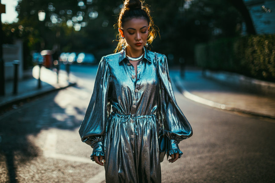 LFW Day 3 Streetstyle metallic dress // NotJessFashion.com