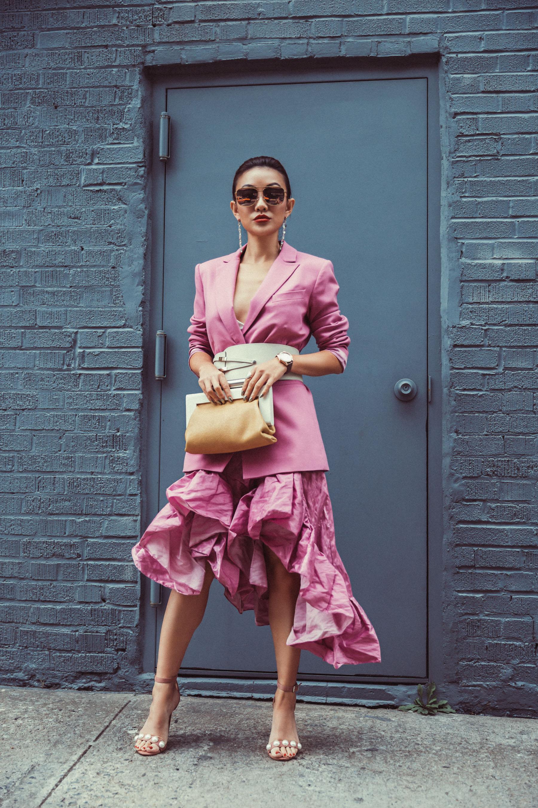 5 SPRING ACCESSORIES EVERYONE WILL BE WEARING SOON // Notjessfashion.com // waist belt, belted blazer, ruffle dress, new york fashion week street style, fashion blogger street style, new york fashion blogger, asian blogger, top blogger
