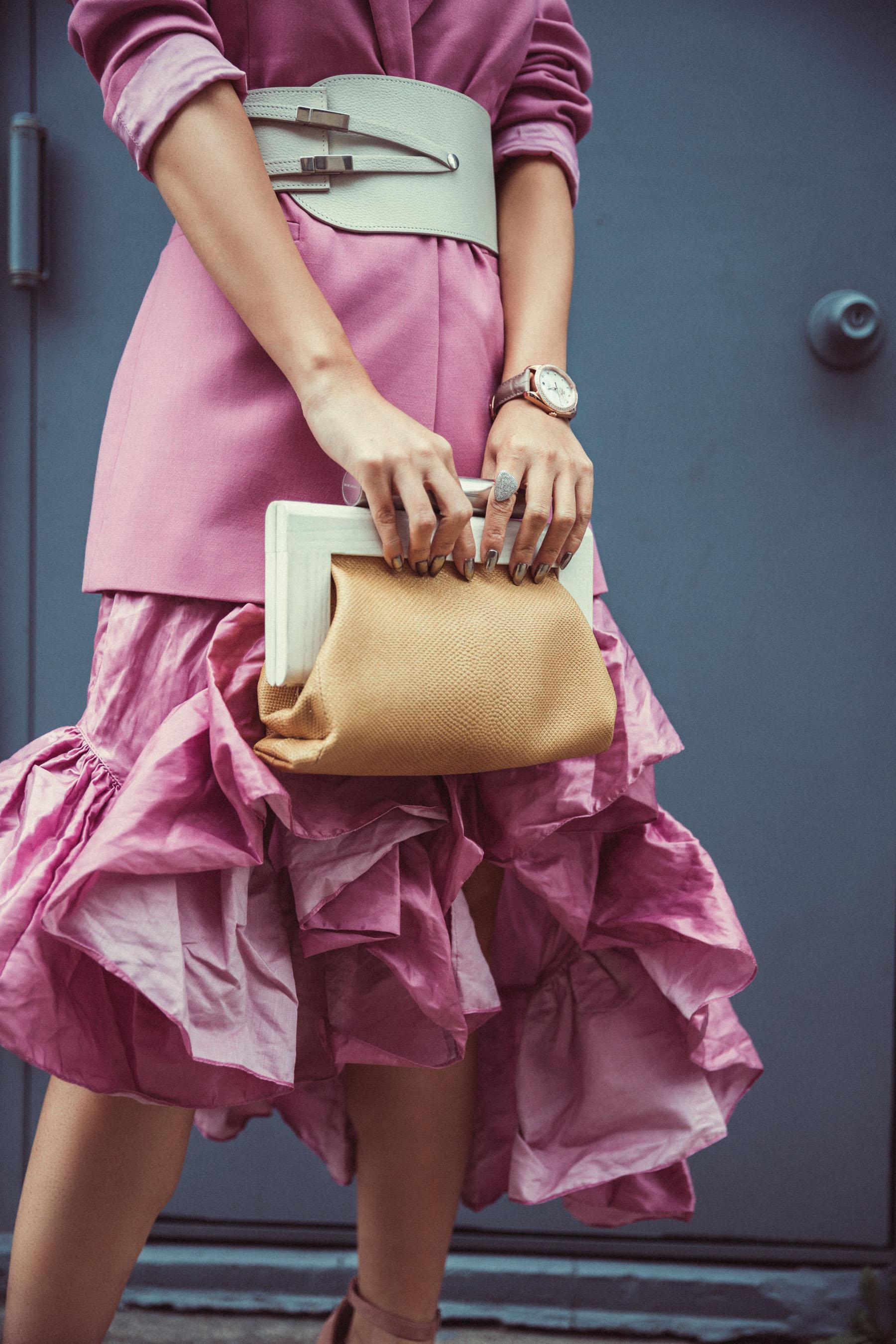 Lilac ruffle dress with lilac blazer and white belt // Notjessfashion.com