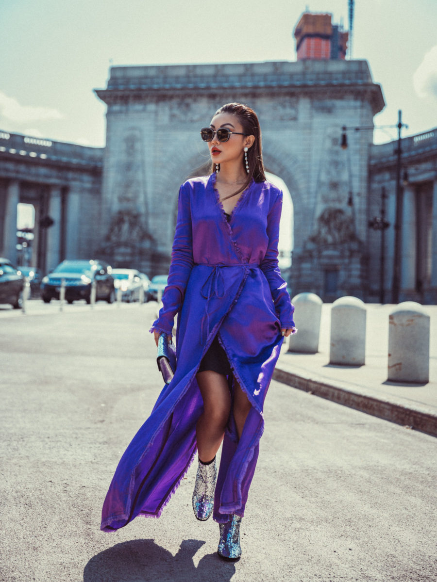 4 Purple Outfits That Prove The Color is Here to Stay - Purple silk kimono, silver sequin boots // Notjessfashion.com