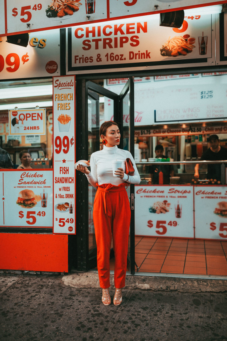 Nastygal Red Paper-bag Waist Pants Outfit // NotJessFashion.com