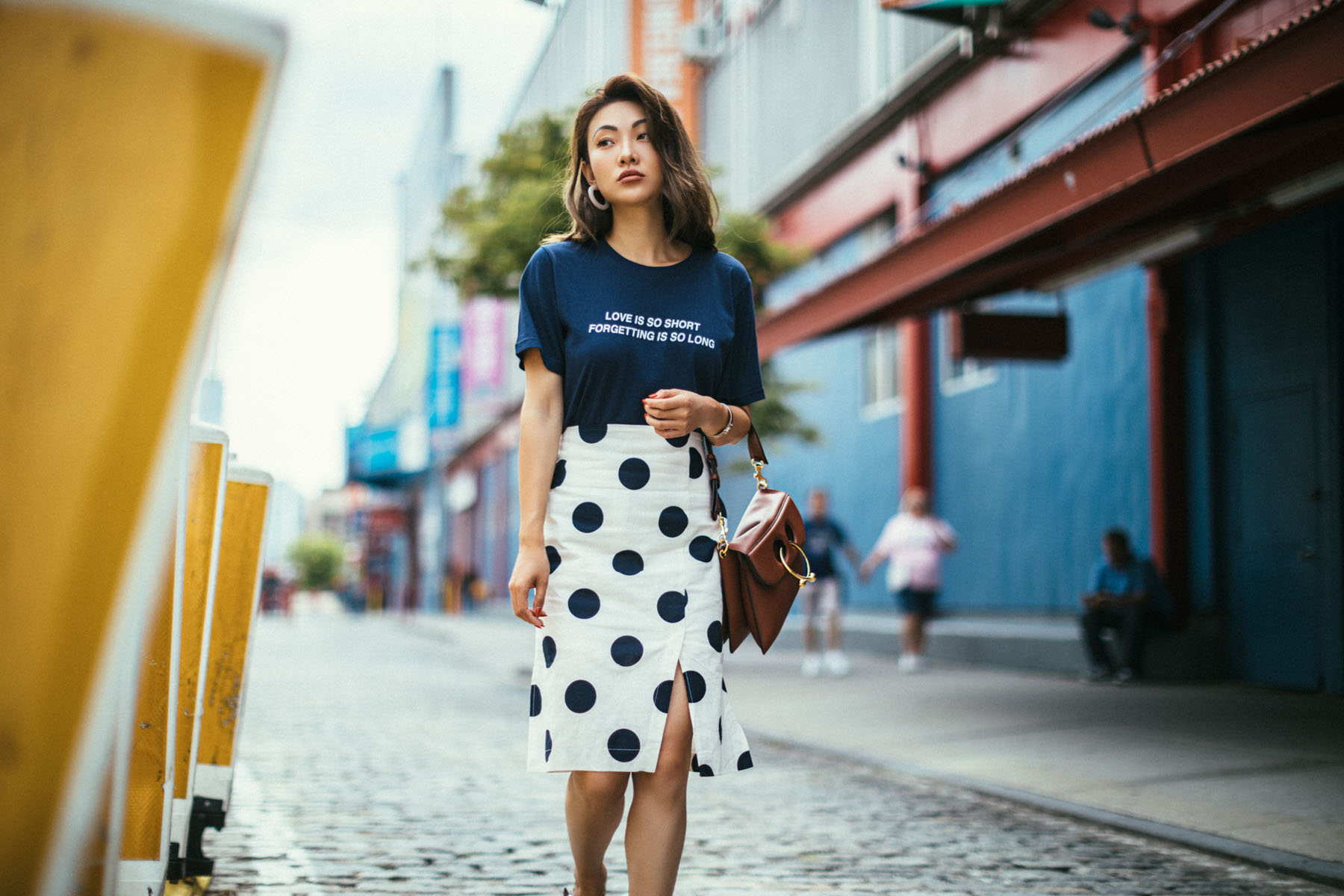 Guide to Wearing Color For Spring - navy top, navy polka dot skirt, white and navy outfit, spring 2018 colors // NotJessFashion.com
