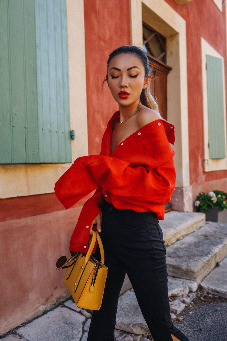 what to wear for chinese new year, red oversized top // NotJessFashion.com