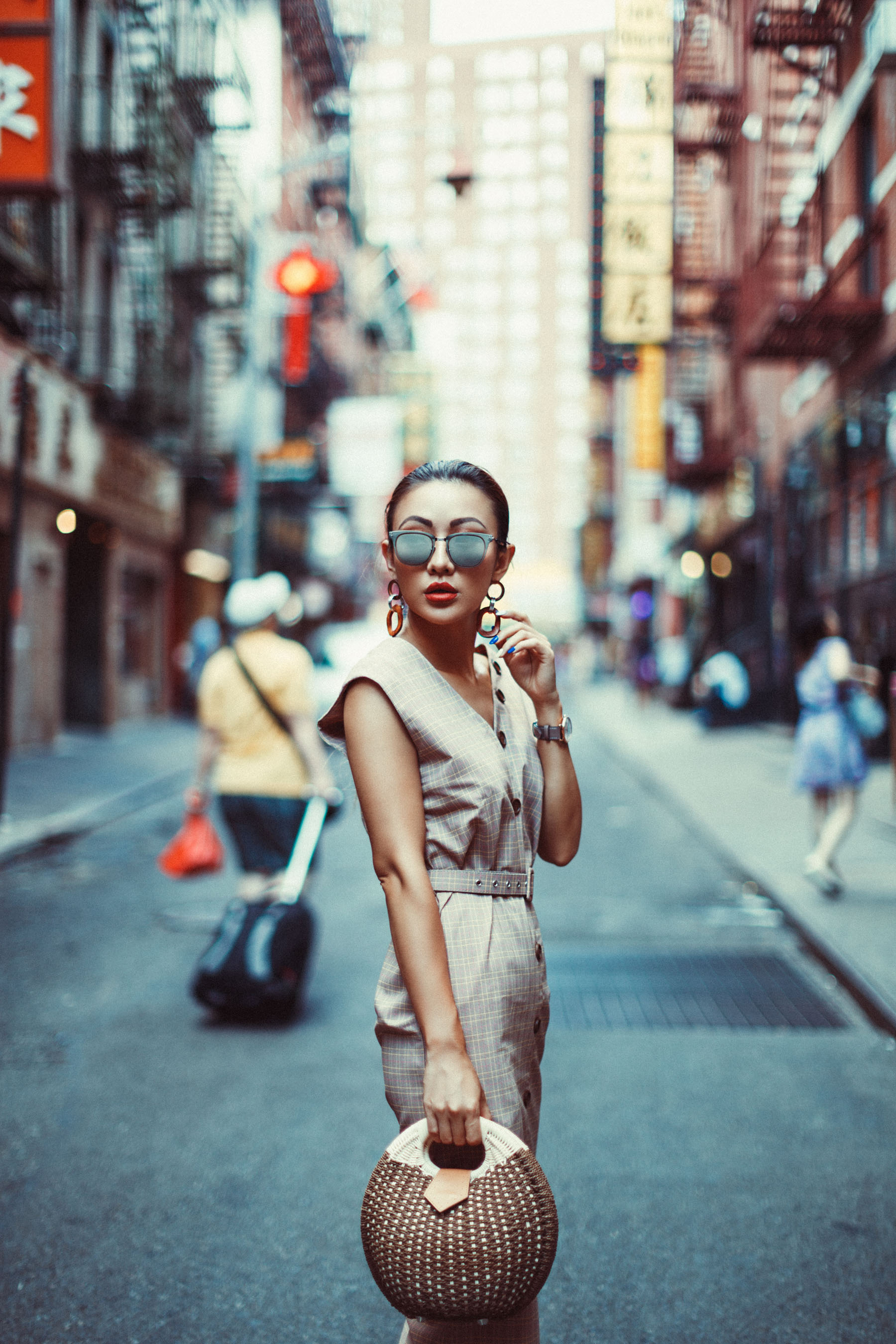 Essential Photography Tips for New Bloggers - Plaid Sheath Dress // NotJessFashion.com // jessica wang, new york fashion blogger, asian blogger, fashion blogger street style, street style fashion, straw bag, mirrored sunglasses, statement earrings, vintage fashion