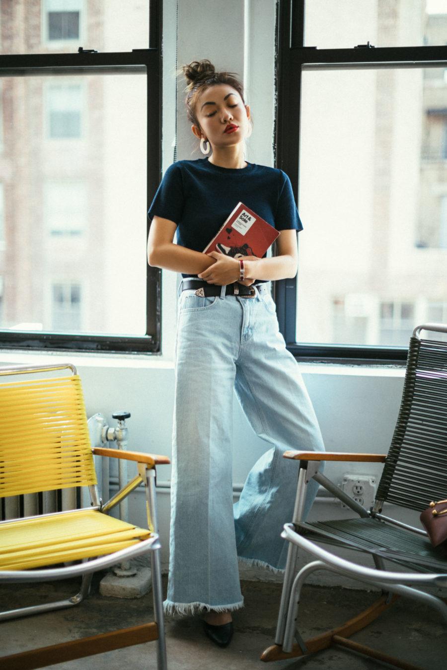 Wide Leg Denim Pants Style For Fall // NotJessFashion.com