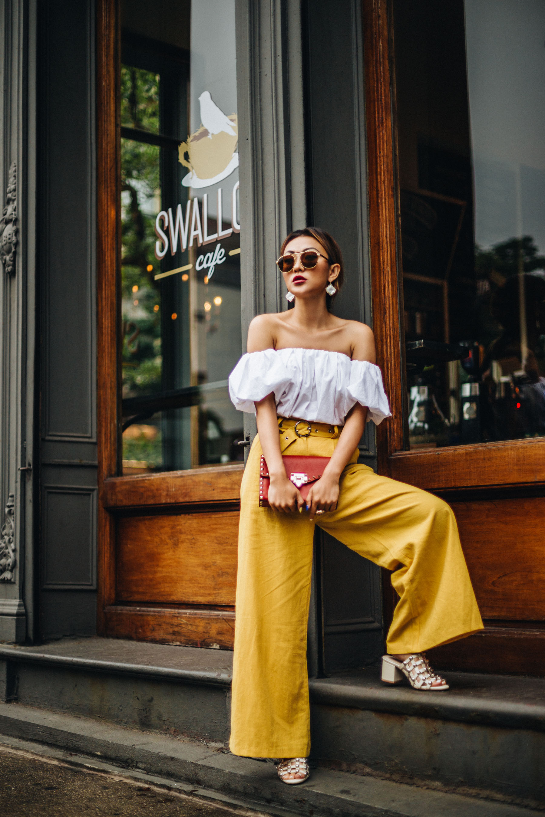 Simple But Stylish Mom Friendly Outfit Formulas - Yellow Wide-Leg Pants // NotJessFashion.com