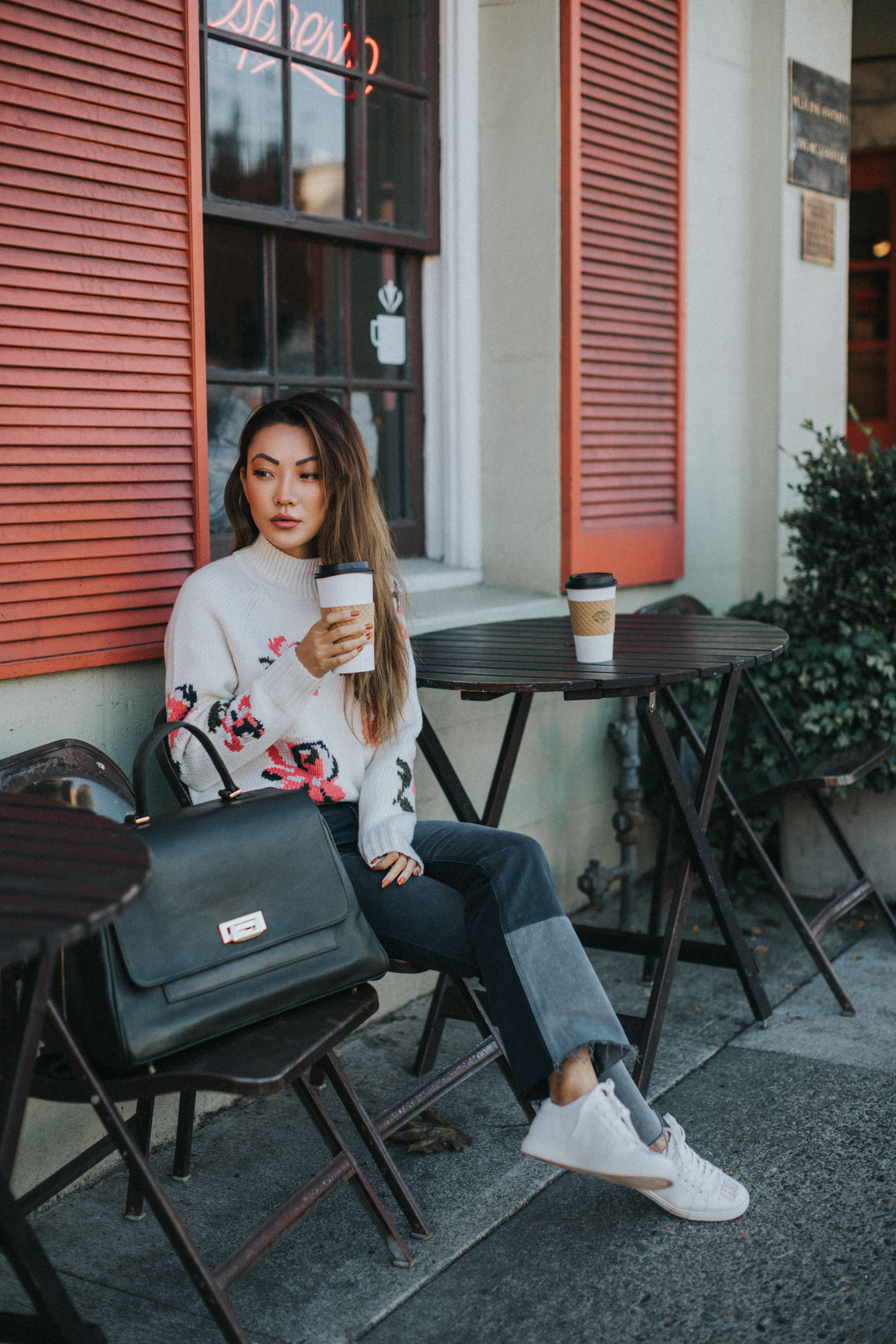 Essential Photography Tips for New Bloggers - floral sweater with jeans // NotJessFashion.com // jessica wang, new york fashion blogger, asian blogger, fashion blogger street style, street style fashion, rebecca taylor, ectu carryall, travel blogger, fall outfits, fall style, cozy fall look
